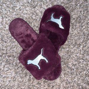 VS PINK Fuzzy Slippers W/ Logo